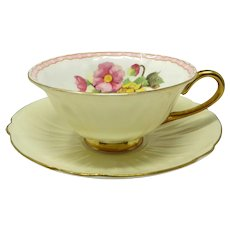 Vintage  Shelley Pale Yellow Oleander Floral Bone China Cup & Saucer