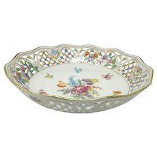 Vintage Hand Painted Schumann Bavaria US Zone 'Chateau' Dresden Flowers Reticulated Bowl