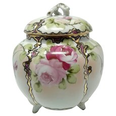 Art Deco Period Hand Painted Made in Japan Cracker Biscuit Jar w/Lid