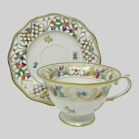 Vintage Schumann 'Chateau' Dresden Flowers Tea Cup & Saucer