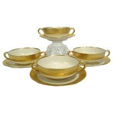 Vintage Heinrich H & Co 22K Gold Encrusted Cream Soup & Saucer - Set of 4