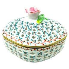 De La Reine Pierced Porcelain Trinket Basket w/Rose Finial