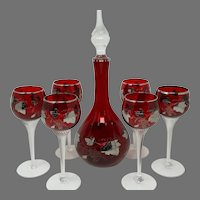 Vintage Bohemian Moser Crystal Czech Ruby Red Decanter Set w/Silver Overlay Grape Motif & Clear Twist Stem Glasses