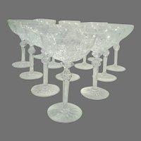 Vintage Rogaska Crystal Tall Coupe Champagne Glasses - Set of 13