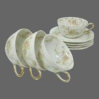 Antique Haviland & Co. Limoges 'The Princess' Cup & Saucer Sets - (4)