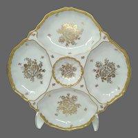 Vintage French Hand-Painted 22K Gold Gilt Porcelain 5-Part Oyster  Platter