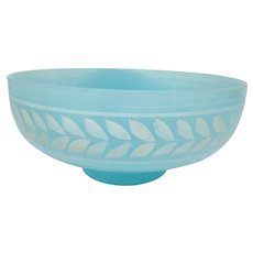 Rare Early Fenton BANDED LAUREL Persian Blue Footed Bowl