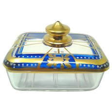 Antique MOSER Enameled Gilt Soap Dish With Lid