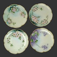 Set of 4 Haviland Limoges France Plates ~HP Floral ~ Signed