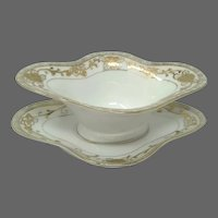 Hand Painted NIPPON Moriage Porcelain Mayo with Liner Plate