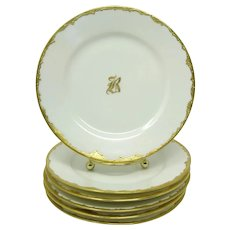 Antique French Haviland Limoges Hand Painted Plates ~ Encrusted Gilt Trim ~ Monogram B ~ Artist Signed (R. Besimer) ~ Set of 6 Ca. 1894 -1931 ▪ Hallmarked ▪ France
