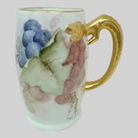 Bavaria HP Limoges Tankard ~ Grape Motif  ~ Gilt Dragon Handle