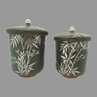 Pair Couples Japanese Tea Cups & Lids ~ Silver Bamboo ~ Signed