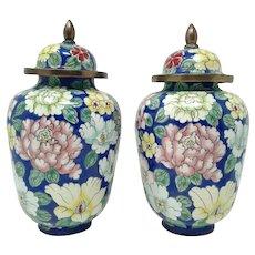 Pair Chinese Floral Enamelled Metal Temple Jars