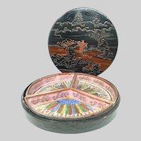 Mid-Century Japanese Lacquered Bento Box ~ 3PC Porcelain Inserts