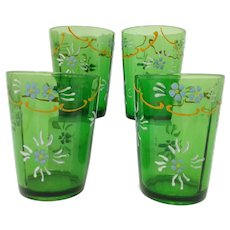 Antique Victorian Green HP Enamel Tumblers ~ Panel Optic~ Set of 4