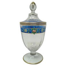 Moser Enameled Floral Glass Candy Jar And Lid