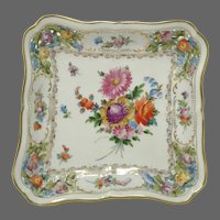 Antique Carl Thieme Dresden Reticulated Square Bowl
