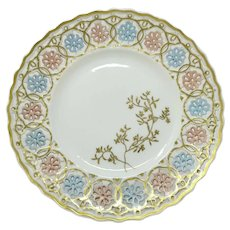 Meissen Hand Painted Reticulated Cabinet Plate Gilded ~ Incised Mark