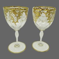 Antique Pair Moser Gilt Wine Glasses ~ Quatrefoil Shape