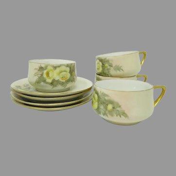 Four Schlacken Werth (Pfeiffer & Lowenstein) Hand Painted Teacup & Saucer Sets ~ Yellow Floral