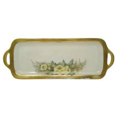 Early 1900's Hand Painted Sandwich Tray ~ Yellow Floral ~ Artist Signed