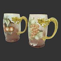 Pair JP Limoges HP Tall Mugs/ Tankards ~ Grape & Apple Motifs ~ Signed