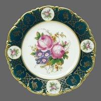 Antique Fischer & Mieg Pirkenhammer Cabinet Plate ~ Green Gilt and Floral