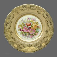Cauldon Gilt and Floral Cabinet Plate ~ Artist Signed (R. Pope)