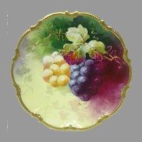 Antique George Borgfeldt CORONET Limoges Cabinet Plate ~ Grapes ~ Artist Signed (Rancon)