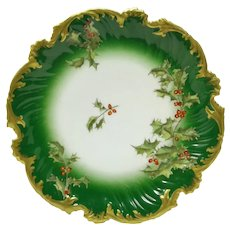 Antique T & V (Tressemann & Vogt) Limoges HOLLY & BERRY Rococo Cabinet Plate