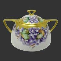 Limoges France Hand Painted Covered Sugar Bowl ~ Violets Gilt