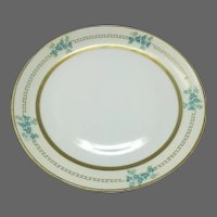 JHR Hutschenreuther Hand Painted Plate  ~ Greek Key Blue Flowers ~ Selb Bavaria