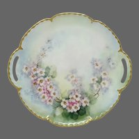 """Haviland France Hand Painted Handled Cake Serving Tray ~ Pink """"Cherry Blossoms"""" ~ Artist Signed"""