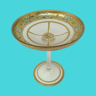 Bohemian Enameled Tall Glass Compote Tazza