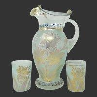 Antique Coudersport Enameled Glass Lemonade Set ~ Pitcher & Tumblers