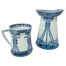 Rare Royal Doulton Flow Blue AUBREY Art Nouveau Ironstone ~ Vase/Holder & Mug