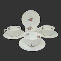 Set of 4 Spode Bone China Bridal Rose Cups & Saucers