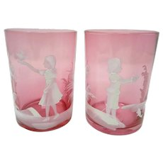 Pair Mary Gregory Hand Painted Art Glass Cranberry Tumblers