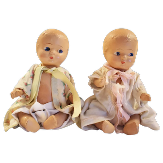 Dionne-type all composition twin dolls