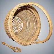 Vintage Mid-Century Handmade basket with handmade bamboo spoon