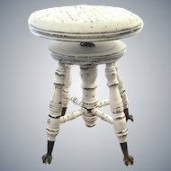 Distressed Antique ball and claw piano stool 1900's