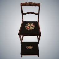 Vintage Tell City Chair Co. Roseback Duncan Phyfe Rocker with upholstered seat and Matching Foot Stool