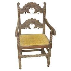 Antique 17th Century Derbyshire Hand Carved Armchair