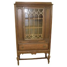 Antique China Cabinet with Glass Door Onlay Over One Drawer