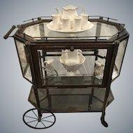 1940's Neoclassical Bronze and Beveled Glass Vitrine Tea Cart
