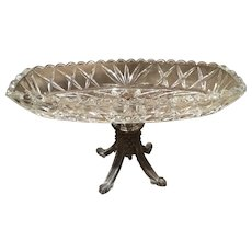 Antique Crystal Oblong Compote Dish With Brass Stand