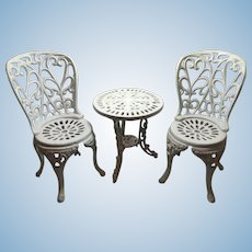 Cast Iron Bistro Doll Table and Chairs