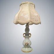 Vintage Victorian light blue gilt trimmed urn style table lamp
