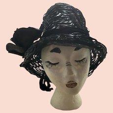 Vintage 1950's Black Cellophane Straw Hat New York Paris Mr.John Classic With Original Hat Box
